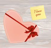 Paper heart with a red bow and ribbon. Yellow sheet of paper for. Notes. Sticker with word i love you. Valentine`s Day. Greeting card. Vector illustration on a Royalty Free Stock Images