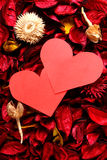 Paper heart on red potpourri - Series 3 Royalty Free Stock Photo