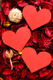 Paper heart on red potpourri - Series 4 Royalty Free Stock Images