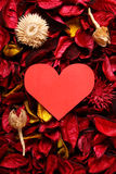 Paper heart on red potpourri - Series 5 Stock Images
