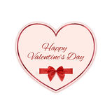 Paper heart with red ribbon and a bow isolated on Royalty Free Stock Photos