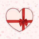 Paper heart with red ribbon and a bow. Valentines Stock Images