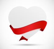 Paper heart with red ribbon Royalty Free Stock Image