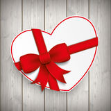 Paper Heart Red Ribbon Wood Stock Photos