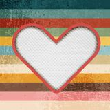 Paper heart on retro background with stripes Stock Image
