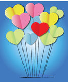Paper heart shape balloons Royalty Free Stock Images