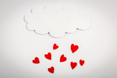 Paper heart shape with cloud symbol for Valentines day with copy Royalty Free Stock Photography