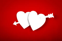 Paper heart shape symbol for Valentines day with copy space for Stock Photography