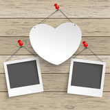 Paper Heart Thumbtack 2 Instant Pics. Paper heart with tack and instant pictures on the wooden background vector illustration