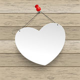 Paper Heart Thumbtack Wood. Paper heart with tack on the wooden background vector illustration