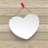 Paper Heart Thumbtack Wood Stock Image