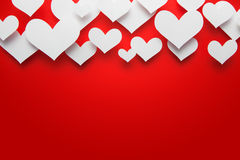 Paper heart. Valentine Day Heart on Red Background stock illustration