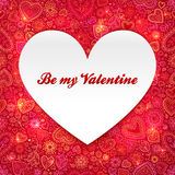 Paper heart Valentines day card Stock Image