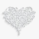 Paper heart on white stock illustration