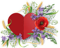 Paper heart and wild flowers Royalty Free Stock Photography