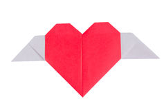 Paper heart with wing Royalty Free Stock Images