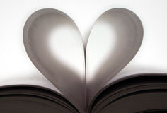 Paper hearth. Close up of a heart made with book pages Royalty Free Stock Photo
