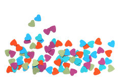 Paper hearts. Many paper hearts Valentines day card on white background Stock Photography