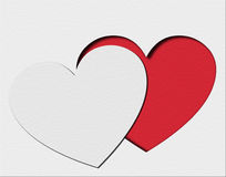 Paper hearts. Paper white and red hearts Royalty Free Stock Photography