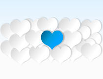Paper hearts background with alone blue heart. Royalty Free Stock Photography