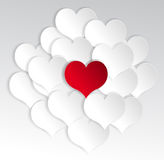 Paper hearts background with alone red heart. Stock Photos