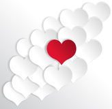 Paper hearts background with alone red heart. Stock Photography