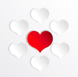 Paper hearts background with alone red heart. Stock Photo