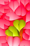 Paper hearts background - pink and green Royalty Free Stock Image