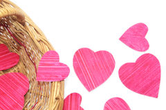 Paper hearts in a basket Stock Photo