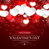 Paper hearts and blurred hearts and sparkles Royalty Free Stock Photography
