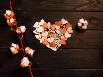 Paper hearts and cotton flowers Royalty Free Stock Images