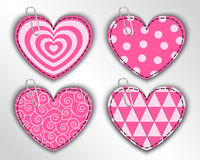Paper hearts with different patterns Stock Photography