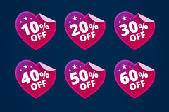 Paper hearts with discounts. Stickers for sale. From 10, 20, 30, 40, 50 and 60 persents off. Vector illustration in flat style royalty free illustration