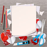 Paper hearts and empty page Royalty Free Stock Photos