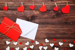 Hearts with envelopes stock images
