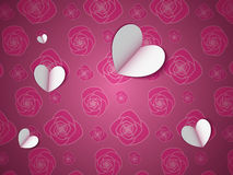 Paper Hearts on the Flower Pattern Stock Image