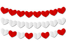 Paper hearts garlands on white Royalty Free Stock Images