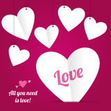 Paper Hearts Stock Photography