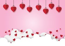 01.Paper hearts hanging on pink sky royalty free illustration