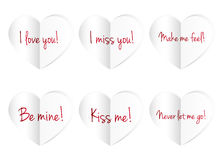 Paper hearts isolated on white background. royalty free illustration