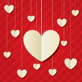 Paper hearts red background. Valentines day card. Royalty Free Stock Photography