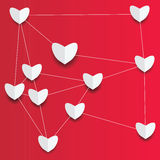 Paper hearts on red background Stock Photo