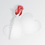Paper hearts with red rose Royalty Free Stock Photos