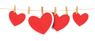 Paper hearts on rope Royalty Free Stock Photos