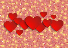 Paper hearts with rose petal background Stock Photo