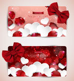 Paper hearts and rose petals Royalty Free Stock Images