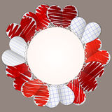 Paper hearts and round sheet of paper Stock Images