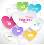 Paper hearts with shadow. Vector Royalty Free Stock Photos
