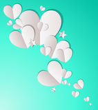 Paper Hearts and Stars Background. Paper hearts and stars on a blue green background Royalty Free Stock Photos