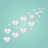 Paper Hearts. Trail of paper hearts on a minty green background Royalty Free Illustration